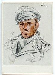 Kriegsmarine - Willrich farbige Propaganda-Postkarte - Ritterkreuzträger Kapitänleutnant Herbert Schultze