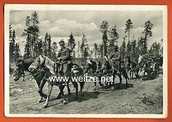 """Waffen-SS - Propaganda-Postkarte - """" Kampf der SS-Gebirgsdivision ' Nord ' in Karelien """" - Finnische Ari beim Vormarsch"""