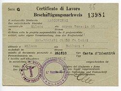 III. Reich - Beschäftigungsnachweis für einen Mann in Milano ( Italien )