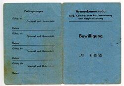 III. Reich - Italienisches Internierungs-Lager Laupen - Bewilligung