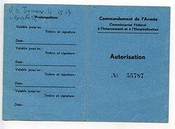 III. Reich - Armeekomanndo italienisches Internierungs-Lager Meiringen - Bewilligung