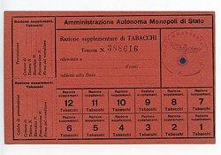 III. Reich - Feldkommandantur 1014 in Italien - Rationskarte für Tabak