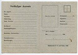 Kriegsmarine - Blanko-Vordruck für einen Vorläufigen Ausweis der Marine-Artillerie