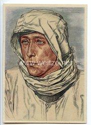 """Heer - Willrich farbige Propaganda-Postkarte - """" Ein bewährter Spähtruppführer im Westwallvorfeld im Schneetarnhemd """""""