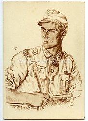 Heer - Willrich farbige Propaganda-Postkarte - Ritterkreuzträger Unteroffizier Hellmuth Valtiner