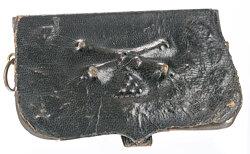 Hessen-Darmstadt schwarzer Interims-Kartuschkasten für Offiziere im Feldartillerie-Regiment Nr. 25