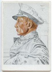 Kriegsmarine - Willrich farbige Propaganda-Postkarte - Ritterkreuzträger Kapitänleutnant Otto Schuhardt