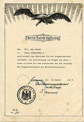 Reichsluftschutz - Abzeichen für den Flugmeldedienst - Bescheinigungfür eine Frau in Kiel