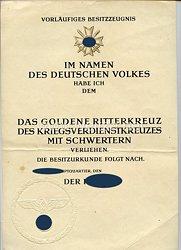 Goldene Ritterkreuz des Kriegsverdienstkreuzes mit Schwertern, Vorläufiges Besitzzeugnis
