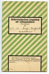 Kriegsmarine - Artilleriefachpersonal-Zeugnisbuch und Leistungsnachweis