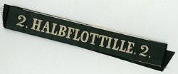 """Reichsmarine Mützenband """"2. Halbflottille 2."""" in Gold"""