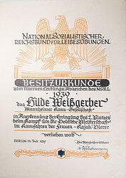 Nationalsozialistischer Reichsbund für Leibesübungen ( NSRL ) - Besitzurkunde zum Silbernen Leistungs-Abzeichen des NSRL 1939
