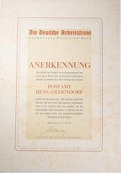 Die Deutsche Arbeitsfront ( DAF ) Gauwaltung Westfalen-Nord - Anerkennungsurkunde