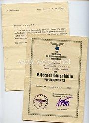 Luftwaffe - Verleihungsurkunde zum Eisernen Ehrenschild des Luftgaues XI
