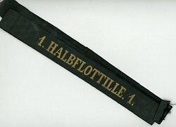 """Mützenband """"1. Halbflottille.1."""" in Gold"""