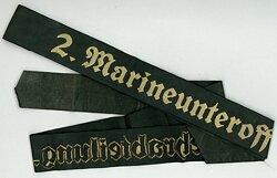 """Kriegsmarine Mützenband """"2.Marineunteroffizierlehrabteilung 2."""""""