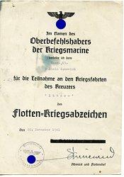 Flotten-Kriegsabzeichen - Verleihungsurkunde