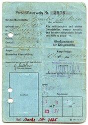 Kriegsmarine - Personalausweis für einen Marinehelfer des Jahrgangs 1928