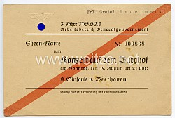 3 Jahre NSDAP - Arbeitsbereich Generalgouvernement - Ehrenkarte für ein Fräulein