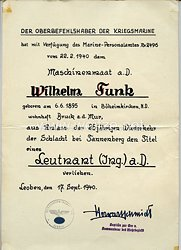 Kriegsmarine - Schmuckurkunde zur 25 jährigen Wiederkehr der Schlacht bei Tannenberg