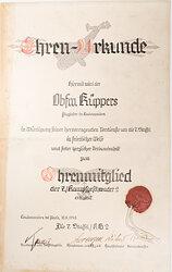 Luftwaffe - Ehren-Urkunde zur Ernennung zum Ehrenmitglied der 7./Kampfgeschwader 2