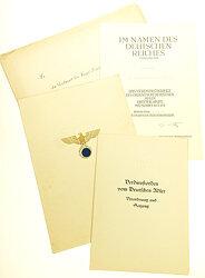 III. Reich - Verdienstkreuz des Ordens vom Deutschen Adler 3. Stufe mit Schwertern - Verleihungsurkunde mit weiteren Papieren