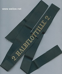 """Mützenband """"2. Halbflottille. 2."""" in Gold"""