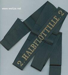"""Reichsmarine Mützenband """" 2. Halbflottille.2."""" in Gold"""