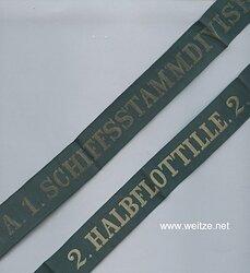 """Mützenband """"2. Halbflottille. 2."""" und """"A.1. Schiffsstammdivision der Nordsee . A.1"""""""