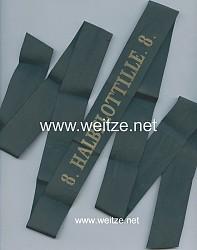 """Reichsmarine Mützenband """"8. Halbflottille. 8."""" in Gold"""