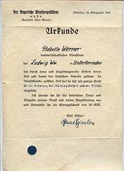 III. Reich - Originalunterschrift von dem Gauleiter von München-Oberbayern Paul Giesler auf einer Urkunde