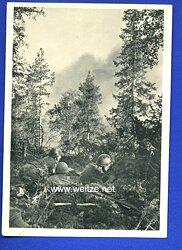 "Waffen-SS - Propaganda-Postkarte - "" Kampf der SS-Gebirgsdivision ' Nord ' in Karelien "" - Finnische Jäger im Angriff"