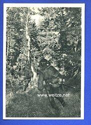 """Waffen-SS - Propaganda-Postkarte - """" Kampf der SS-Gebirgsdivision ' Nord ' in Karelien """" - Angriff im Urwald"""