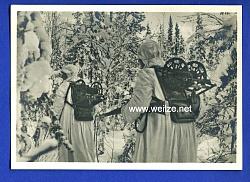 """Waffen-SS - Propaganda-Postkarte - """" Kampf der SS-Gebirgsdivision ' Nord ' in Karelien """" - Störungssucher unterwegs"""