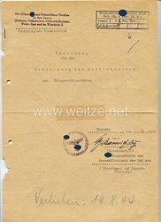 Reichsführer-SS - Vorschlagsliste für die Verleihung des Ritterkreuzes zum Kriegsverdienstkreuz für SS-Brigadeführer Hans Kehrl, Polizeipräsident von Hamburg