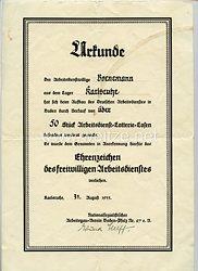 III. Reich - Freiwilliger Arbeitsdienst ( FAD ) - Verleihungsurkunde für das Ehrenzeichen des freiwilligen Arbeitsdienstes