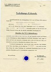 N.S.Arbeitsdienst Arbeitsgau 28 (Franken ) - Verleihungsurkunde Nr. 141 für das Abzeichen des N.S.Arbeitsdienstes