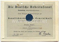 """III. Reich - DAF Gauverwaltung Schleswig-Holstein - Berechtigungsurkundezum Aushang der Plakette der Aktion """" Kenntlichmachung der Gemeinschaft """""""