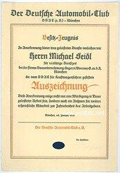 III. Reich - Der Deutsche Automobil-Club ( DDAC ) - Besitzzeugnis für die vom DDAC für Kraftfahrer gestiftete Auszeichnung