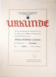 Heer - Schmuckurkunde beim Wettbewerb der Division Nr. 159 im Rahmen der geistigen Betreuung und Freizeitgestaltung