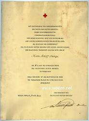 Deutsches Rotes Kreuz ( DRK ) - Verleihungsurkunde für die 2. Klasse des Ehrenzeichens des Deutschen Roten Kreuzes