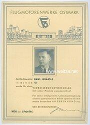 III. Reich - Flugmotorenwerke Ostmark - Anerkennungsurkunde