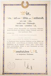 Kriegsmarine - humoristische Verleihungsurkunde für ein Kampfabzeichen 1. Klasse in imaginären Brillanten
