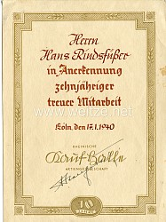 III. Reich - Rheinische Kaufhalle A.G. - Anerkennungsurkunde für 10 jährige treue Mitarbeit eines Mannes