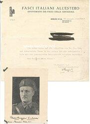 Italien 2. Weltkrieg - Originalunterschrift des Landesgruppenleiters der Italienischen Faschisten in Deutschland, Paolo Ruggeri