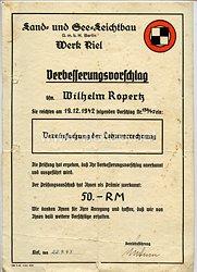 III. Reich - Land- und See-Leichtbau GmbH Berlin - Werk Kiel - Verbesserungsvorschlag