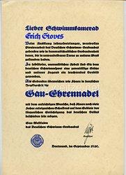 III. Reich - Deutscher Schwimm-Verband Gau Westfalen - Verleihungsurkunde für die Gau-Ehrennadel