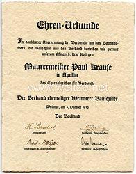 III. Reich - Verband ehemaliger Weimarer Bauschüler - Ehrenurkunde zum Ehrenabzeichen für Verdienste