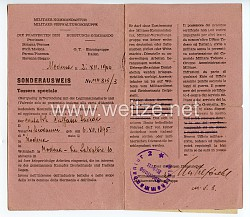 Organisation Todt - O.T.-Einsatzgruppe Italien - Militär-Kommandantur - Die Präfekten der Rüstungs-Kommando - Sonderausweis