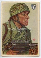 Luftwaffe - Willrich farbige Propaganda-Postkarte - Ritterkreuzträger Feldwebel Hellmuth Arpke